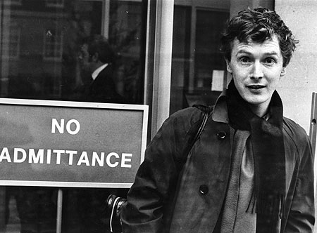 Malcolm McLaren by 'no admittance' sign
