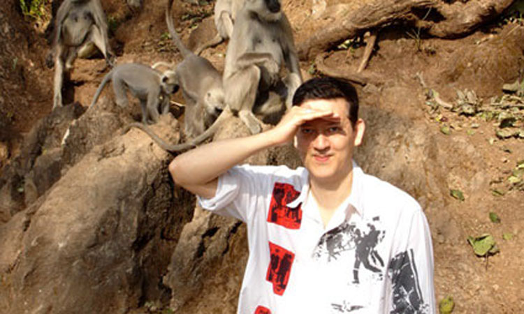 Mark Moore and the monkeys in India