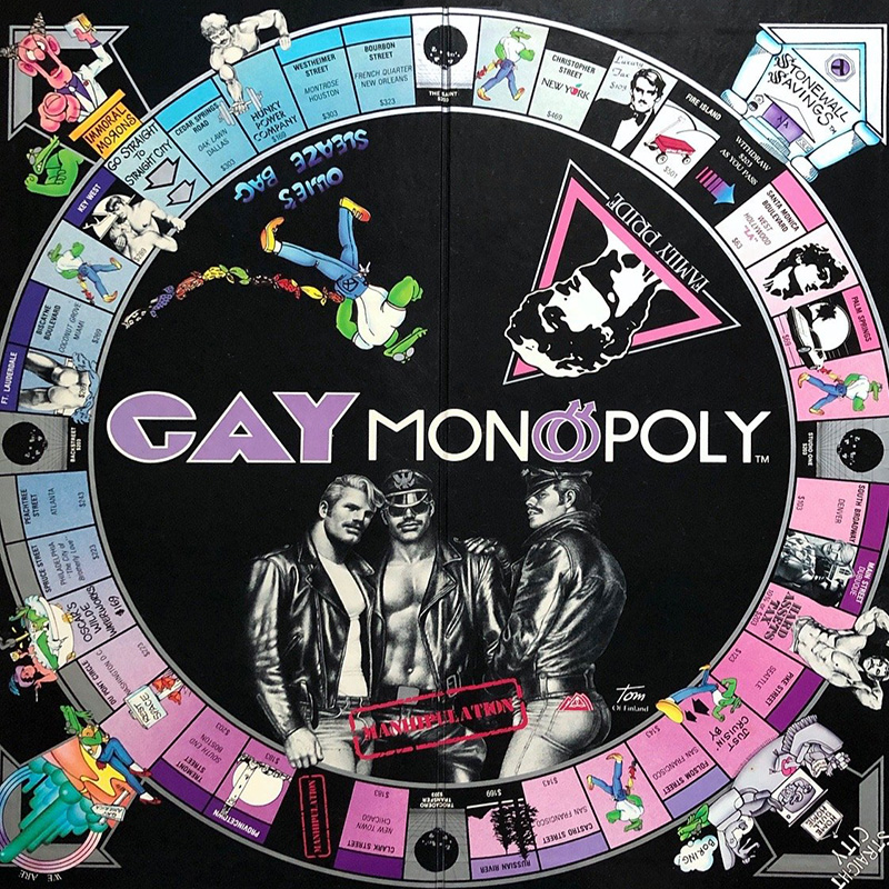 Gay Monopoly board game with Tom of Finland art