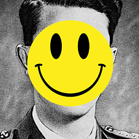 Yellow smiley face over man's head