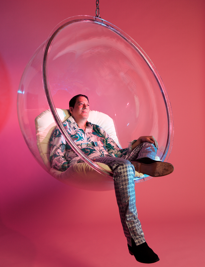 Mark Moore S-Express in hanging bubble chair