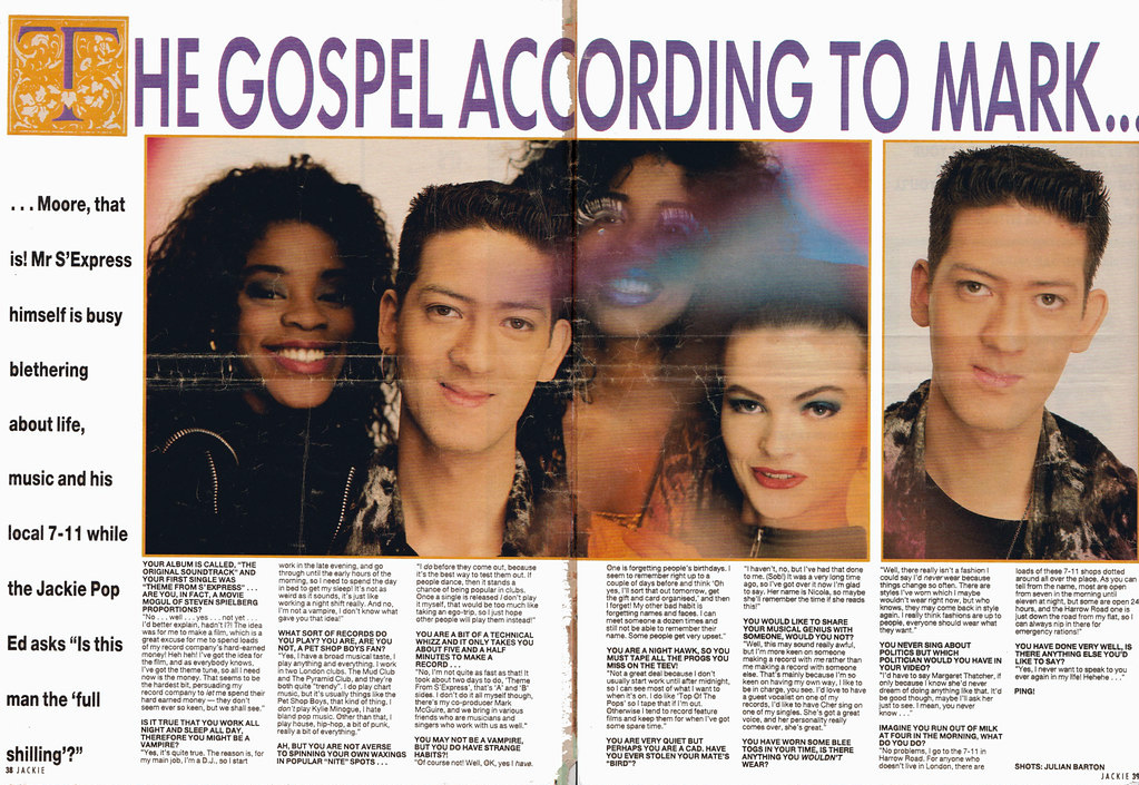 Mark Moore S'Express Smash Hits double page spread