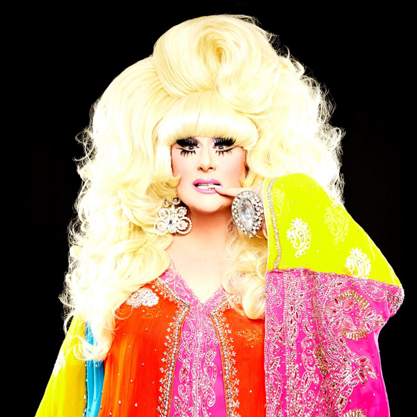Lady Bunny in blonde wig and red robe